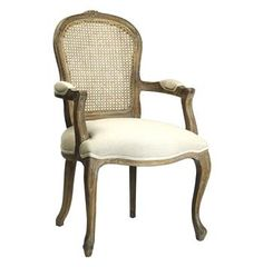 Lyon French Country Cane Back Linen Dining Arm Chair (KathyKuohome)
