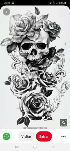 Pretty Skull Tattoos, Skull Rose Tattoos, Skull Sleeve Tattoos, Rose Tattoos For Men, Hand Tattoos For Women, Best Sleeve Tattoos, Sleeve Tattoos For Women, Body Art Tattoos, Tatoos