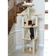 This cat condo tree is large and sturdy and is a perfect solution for households with some very active cats. Cat Tree Condo, Cat Condo, Cat Perch, Wood Cat, Cat Towers, Pet Furniture, Scratching Post, Cat Supplies, Buy A Cat