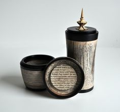 the result of inspiration, boxes made from the book 'London' by Rutherford and ebony.