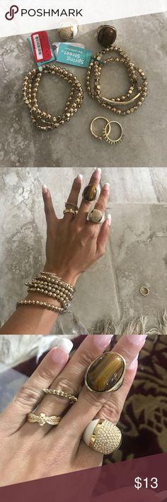 Gold jewelry set! 4 rings and 6 bracelets Nordstrom Jewelry Bracelets
