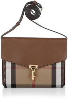 Burberry Tasche - Macken Crossbody House Check Derby Leather Small Tan - in…