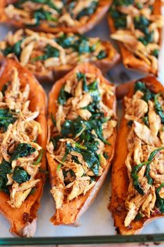 Sweet potato chicken and spinach easy paleo clean dinner Clean Dinners Healthy Chipotle Chicken Sweet Potato Skins. Whole 30 Recipes, Clean Recipes, Paleo Recipes, Cooking Recipes, Yummy Recipes, Sunday Recipes, Veggie Recipes, Sweet Potato Recipes Healthy, Cooking Chef