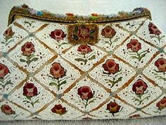 Vintage Purse 1930 1940 French Beaded Embroidered Enameled Handbag