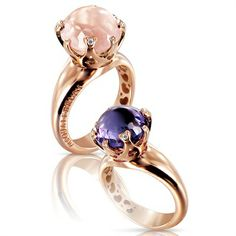 Pasquale Bruni - Sissi rings in rose gold with pink quartz or amethyst with diamonds