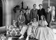1949 Family portrait of the Aga Khan household showing (back L-R) Begum; wife of the Aga Khan, Amyon; younger son of Aly Khan, Sadruddin; younger son of the Aga Khan and Aly's half brother, Aly Khan and Karim; Aly Khan's older son. Seated in front are the AgaKhan (L) and actress Rita Hayworth, wife to Aly Khan. (Photo by Dmitri Kessel//Time Life Pictures/Getty Images)