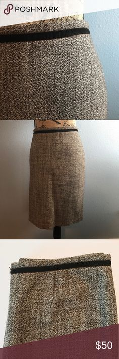 "Tory Burch Heathered Brown Tweed Pencil Skirt Tory Burch, Heathered brown lined tweed skirt with velvet trim, size 12, EUC, smoke free home.   Waist: 34"" Length: approx 22"" Slit: 8"" Tory Burch Skirts Pencil"