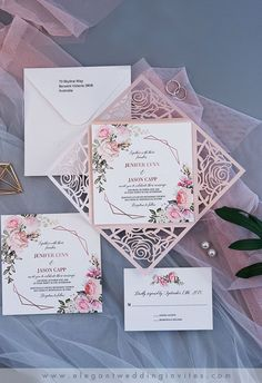 {Modern Romance} Geometric blooms organic blush floral geometric rose pattern laser cut wedding invitations EWDM002