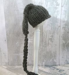 Grey Knit Baby Pixie Hat, Dark Gray Baby Stocking Cap, Long Tail Hat, Elf Baby Hat, Wool Newborn Hat, All Baby Sizes, Winter Hat Baby