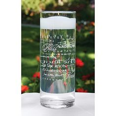 """Inspirational wedding words in white on clear glass cylinder. 9"""" tall, 3-1/4"""" in diameter. Candle not included.  #timelesstreasure"""