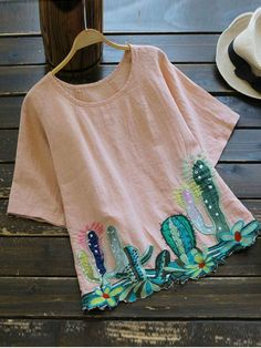 Round Collar Cacti Embroidered Blouse - PINK ONE SIZE