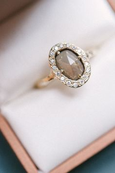 Oval Rose Cut Gray Diamond + Diamond Halo -- Such a gorgeous engagement ring!