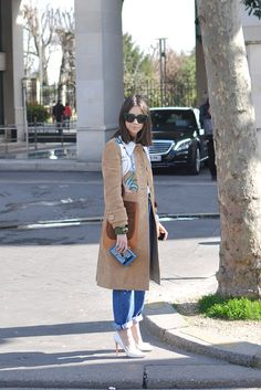 Natasha Goldenberg in miu miu coat - Trendycrew.com