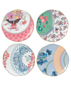 Wedgwood Set of 4 Butterfly Bloom Tea Plates - Fine China - Macy's