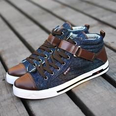 Fashion Korean Mens Denim Shoes Casual Short Boots Flat Heel Blue Black | eBay