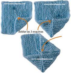 Zapatitos de bebe de dos cuadrados tejidos - Tejiendo Perú Knit Slippers Free Pattern, Baby Booties Knitting Pattern, Knitted Slippers, Crochet Baby Booties, Crochet Beanie, Baby Knitting, Baby Kimono, Knitting Dolls Clothes, Crochet Toddler