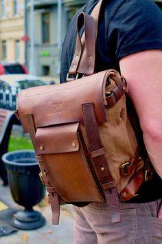 Backpack Leather Canvas Backpack Sling Backpack Messenger image 1 – Men's style, accessories, mens fashion trends 2020 Vintage Leather Messenger Bag, Leather Laptop Backpack, Messenger Bag Men, Leather Bags Handmade, Canvas Backpack, Backpack Bags, Sling Backpack, Duffle Bags, Laptop Bags
