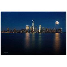 Trademark Fine Art Supermoon Rise Over Downtown - Nyc Canvas Art by David Ayash, Size: 12 x 19, Multicolor