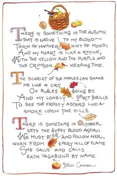 Susan Branch autumn poem by Bliss Carman