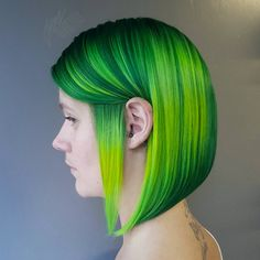 Hairstylists Predict the Biggest Hair Trends of 2017 -- neon green hair color on short straight blunt hair cut