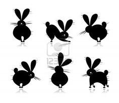 Pattern Silhouettes drôle de lapins pour appliqués