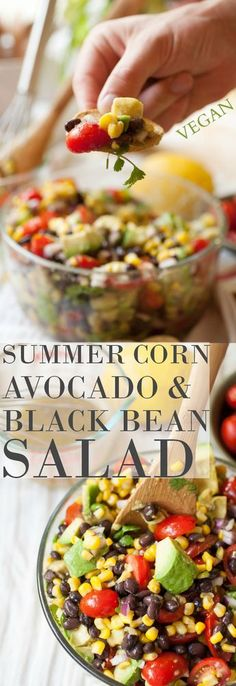 Produce On Parade Summer Corn Avocado Black Bean Salad Its great all on its on as a sort of dip with chips or even in a pita Fresh and vibrant with creamy avocado swee. Mexican Food Recipes, Vegetarian Recipes, Cooking Recipes, Healthy Recipes, Healthy Snacks, Healthy Eating, Good Food, Yummy Food, Tasty