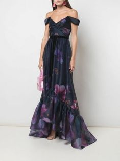 Off-Shoulder-Organzakleid mit Blumendruck von Marchesa notte - Farfetch Marchesa, High Low Gown, Gown Skirt, Floral Gown, Haute Couture Dresses, Evening Dresses, Floral Evening Gown, Purple Evening Gowns, Long Dresses