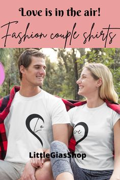 Love shirt with a heart design is a perfect matching shirt for Couples and a perfect valentine's day outfit and valentine's day gift for her and gift for him. #coupleshirt #valentinesdaygiftforher #valentinesdaygiftforhim #couplesmatchingshirt #loveshirt