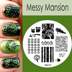 Nail Art Stamping Image Plate MM19 - In the forest (Messy Mansion on Etsy)