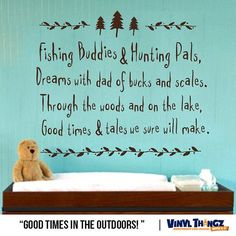 Fishing Wall Decal - Nursery Hunting Fishing Deer - Baby Wall Decal - Kids Room Decor - Fishing Buddies and Hunting Pals Vinyl Decal    This decal can be made in different dimensions. Larger sizes may increase the price of the wall decal and also result in installations requiring more than one piece.    Each order of wall art comes with the following:  -	High quality vinyl decal  -	Easy to follow instructions  -	Squeegee to apply   -	Practice decal    *Pictures may not reflect true size…
