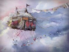 The Flying Circus by Katya Sukhotskaya Watercolors and Pencils. (x-post from /r/ImaginaryMindscapes). Circus Illustration, Watercolor Illustration, Watercolor Paintings, Deviantart Drawings, Surreal Artwork, Circus Art, Collages, Fantasy Art, Pop Art