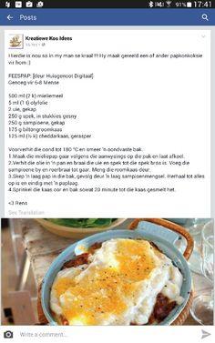 Feespap Braai Recipes, Meat Recipes, Appetizer Recipes, Cooking Recipes, Recipies, South African Dishes, West African Food, South African Recipes, Pap Recipe