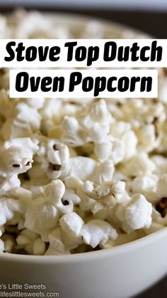 Stove Top Dutch Oven Popcorn recipe is easy to make with simple ingredients Canola oil, Kosher salt and popcorn kernels.   #stovetop #popcorn #recipe #canolaoil #Koshersalt #Dutchoven