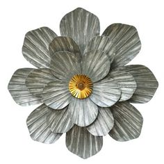 The Stratton Home Decor Galvanized Flower Wall Sculpture features layers of flower petals with detailed texture in a galvanized metal medium. The silver.