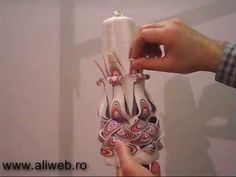 How it's made carved candles Confectionare lumanari sculptate tip candela - YouTube