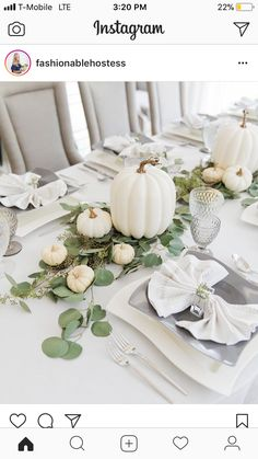 Thanksgiving White Pumpkin Tablescape Thanksgiving White Pumpkin Tablescape – Fashionable Hostess More from my site A Fall-Themed Dinner Party 23 Gorgeous Thanksgiving Tablescapes & Table Setting Ideas Floral Pumpkin Centerpiece Tutorial Thanksgiving Table Settings, Thanksgiving Tablescapes, Thanksgiving Decorations, Halloween Decorations, Holiday Tables, Fall Table Settings, Diy Thanksgiving, Pumpkin Wedding Decorations, Diy Halloween