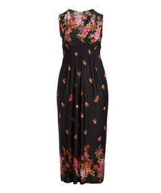 Take a look at this Black Floral Surplice Empire-Waist Sleeveless Maxi Dress - Plus today!