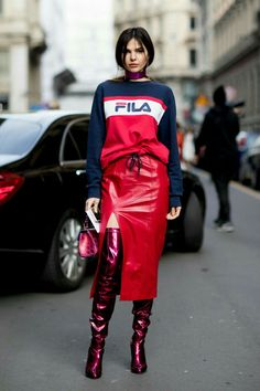 N.I.C.O.L.E   @GXLDEN22   Sport Street Style, Street Style Women, Fall Street Styles, Street Style Looks, Street Style Fashion, Fashion Mode, Sport Style, Red Fashion, Leather Fashion