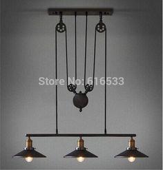 Modern Vintage Loft de pays d'amérique Lustre de levage poulie industrielle Edison Pendant Lamp Plate fil réglable Fixture cuisine