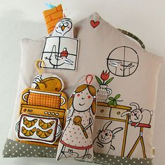 "Polštář ... DOMEK ""U DVOU KRÁLÍČKŮ"" Pretend Play, Doll Toys, My Works, Pillows, Holiday Decor, Quiet Books, Fabric Dolls, Canvases, Toys"