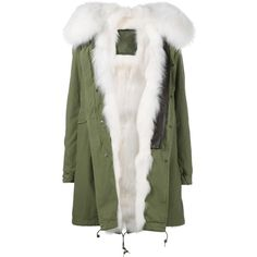 Mr & Mrs Italy fur lined mid parka (1.833.480 HUF) ❤ liked on Polyvore featuring outerwear, coats, jackets, fur, casaco, green, fur hood coat, green fur coat, army green parka and green parkas