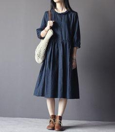 Retro dark blue cotton linen blend dress-3/4 sleeve dress-loose dress-dark blue…