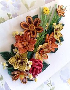 Colorful spring flowers.Quilling art.Quilling wall art.Handmade.Paper…