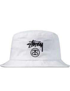 1a6e97c6 Stussy White Stock Lock SU15 Bucket Hat Stussy Bucket Hat, Mens Bucket Hats,  New