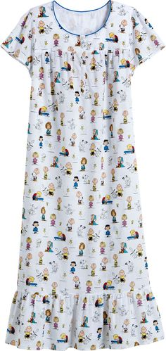 Peanuts Cotton Nightgown: Charlie Brown is back on our lighter weight 100% cotton nightgown, bringing along the Peanuts Gang, including Snoopy, Woodstock, Linus, Lucy, Sally, Peppermint Patty, and Schroeder.
