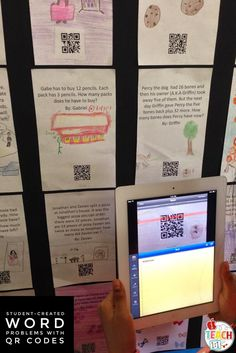 Student-created math word problems bulletin board with self-checking QR codes. I've done this fun, free activity with 2nd and 4th grade students and it's my favorite activity for teaching word problem strategies. They love solving each others' problems and coming up to the board with the iPads. For more ideas and activities for using QR codes in the elementary classroom, visit the iTeach 1:1 blog.