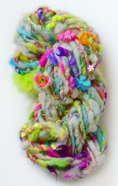 Butterfly Garden Handspun Art Yarn Multicolor neon wool blend by 222 Handspun on Etsy Spinning Yarn, Hand Spinning, Textiles, Knitting Yarn, Knitting Patterns, Easy Knitting, Yarn Inspiration, Yarn Thread, Hand Dyed Yarn