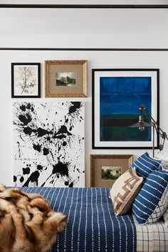 Bedroom gallery wall of blue and white modern and vintage artwork - Art Wall Ideas & Decor Bedroom Artwork, Master Bedroom, Masculine Interior, Natural Area Rugs, Elements Of Design, Vintage Artwork, Beautiful Interiors, Framed Wall Art, Decor Styles