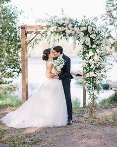 A wedding ceremony floral arch ceremony arch Photo Wedding Ceremony Ideas, Wedding Chuppah, Wedding Ceremony Decorations, Floral Wedding, Wedding Flowers, Wedding Dresses, Wedding Trellis, Outside Wedding, Gazebo