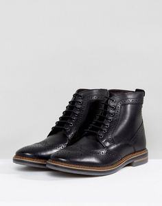 3f8bd31afb6c Base London Hurst Leather Brogue Boots In Black